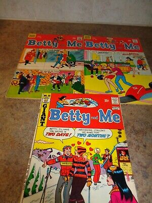 """Three """"Betty and Me"""" ARCHIE SERIES Comic Books Late 60's/Early 70's"""
