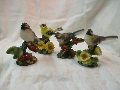 2003 Designspirations 3 resin & 1 porcelain Bird Figurines