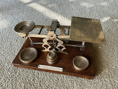 Beautiful Victorian Letter Scale by S. Mordan & Co. London, Eng.+ 6 weights