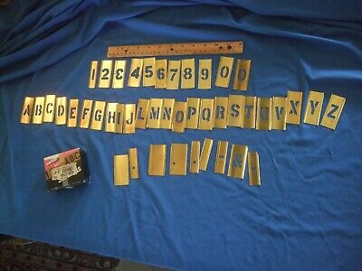 INCOMPLETE Stencil set 1 In Brass Interlocking 44 Pieces Reusable Sign Lettering