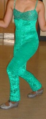 Girls Catsuit, Green Crushed Velvet with AB sworsovski crystals, approx age 9-12