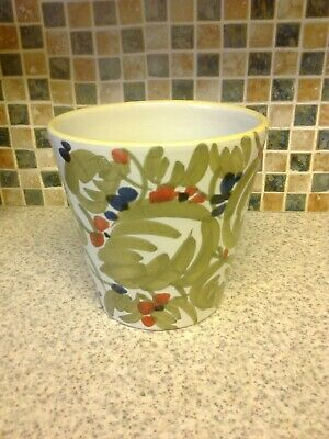 Italy Plant Pot Planter Hand Painted Red & Blue Berries Green Leaves