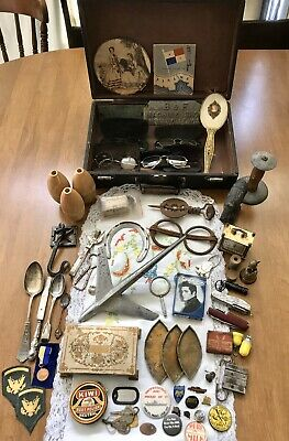 Vintage Junk Drawer Lot Cast Iron Brass Clock Horse Glasses Hood Ornament Elvis