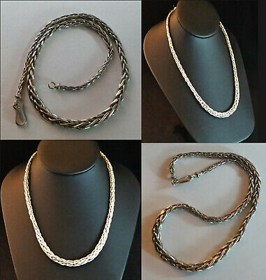 """Sterling Silver Necklace BALI WHEAT FOXTAIL Graduated Chain 18.75"""" 52g 925 #1"""