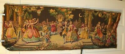 Vintage Victorian Tapestry Made in Belgium Moonlight Gathering 19x54 Party Scene