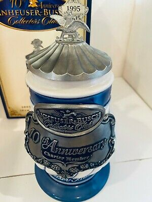 2005 ANHEUSER BUSCH COLLECTOR CLUB MEMBERS ONLY STEIN 10th ANNIVERSARY