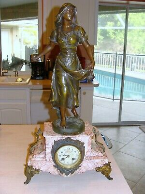 French Figural Clock Signed Lady Statue - Working With Key And Pendulum