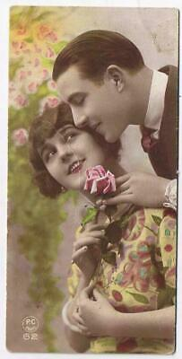 Vintage Bookmark Courting Couple Roses PC Paris 62 Dated 1937