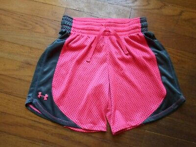 Under Armour YLG  Girls Salmon / Grey  Athletic Shorts Youth -EC