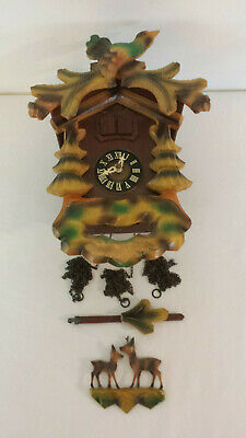 Vintage W. Germany Cuckoo Clock with Musical Movement for Parts or Repair