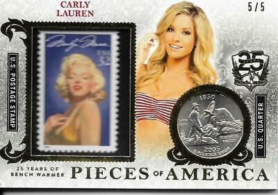 2019 Benchwarmer 25 Years Carly Lauren Pieces Of America Stamp Coin Card /5