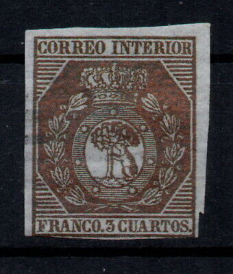 Edifil 23 usado, 3 cs, 1853. Escudo de Madrid. España, Spain 7.000€ Filatelia