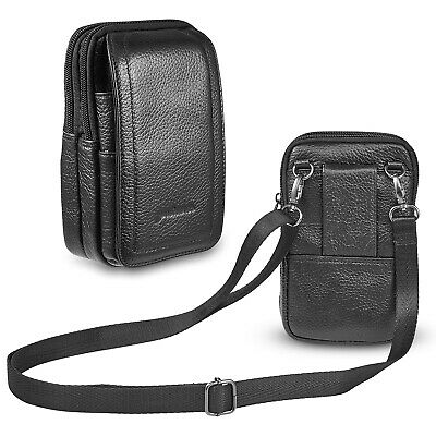 Mens Crossbody Shoulder Bag Mini Vertical Leather Holster Pouch For Cell Phone