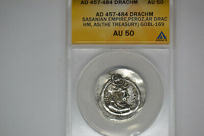 Ancient Silver Drachm- Sasanian Empire- AD 457-484- King Peroz- ANACS AU-50.