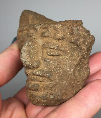 Pre-Columbian Grotesque Terracotta Pottery Head Fragment Ancient Artifact