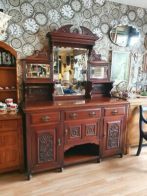 An Antique Victorian Mahogany Mirrored Dresser Sideboard ~Delivery Available~