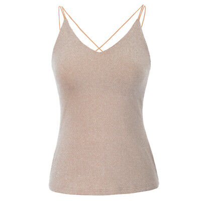 New Summer Sexy Ladies Womens Plain Stretchy Vest Top Spaghetti Strap Cami Tops