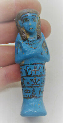 Ancient Egyptian Blue Glazed Faience Ushabti Shabti With Heiroglyphs