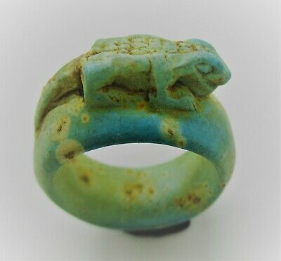 Beautiful Ancient Egyptian Glazed Faience Ring With Crocodile On Top