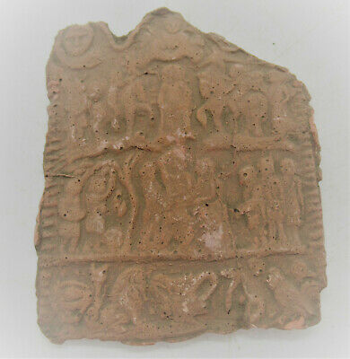 Ancient Byzantine Terracotta Relief Plaque Fragment With Religious Scenes