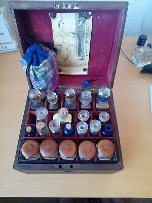 Antique Medical Apocatherapy Box Case with Bottles, Film prop,  or as Steampunk
