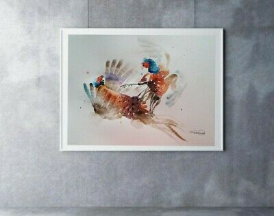 Large signed ORIGINAL watercolour ART painting of SPARRING PHEASANT bird gift