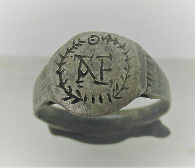 Late Roman Early Byzantine Ar Silver Seal Ring Wreath Inscribed 'Ae'