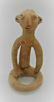 Circa 500 Bce Ancient Near Eastern Seated Terracotta Worshipper Statue