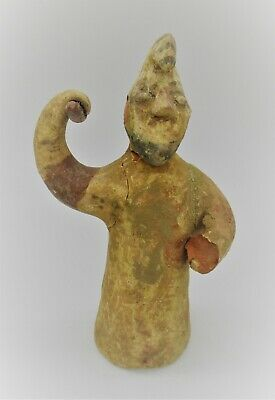 Ancient Near Eastern Terracotta Greek Soldier Statuette Archaic 500Bc
