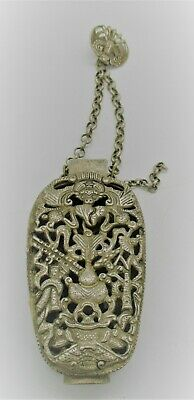 Beautiful Old Antique Chinese Silver Snuff Bottle Case