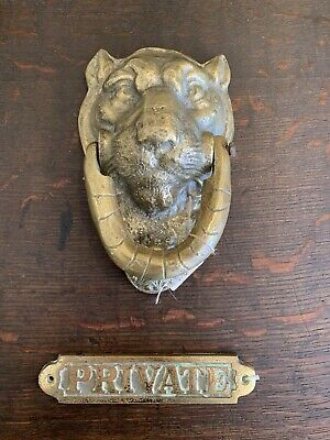 Old Brass Lion Head Door Knocker Handle + Private  Label  Architectural Salvage