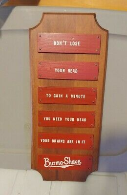 Vintage - Burma Shave - Wooden Sign - Burma-Shave - Free Shipping