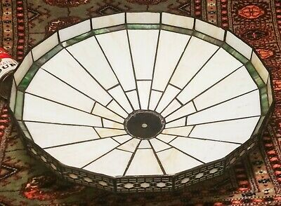 Arts & Crafts lamp shade vtg leaded slag glass art deco table floor ceiling