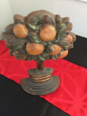 Vintage Painted Cast Iron Orange Tree Door Stop HEAVY 4.6KG