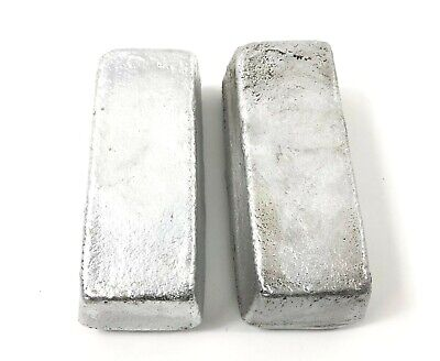 Two Aluminum Ingots Hand Poured Loaf Bars for Casting 1.82Kg 4lbs