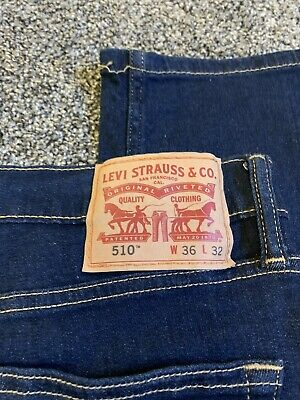 Levis 510 Stretch Skinny Dark Wash Mens 36 X 32 New Without Tags - Small Defect