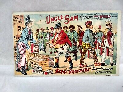 Vintage Early 1900'S Postcard Uncle Sam Supplying Berry Brother's Finishes