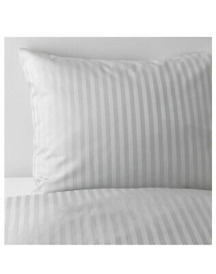 Ikea NATTJASMIN King Sz Duvet Cover 2 Pillowcases set Striped Gray Discontinued
