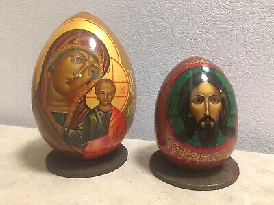 Russian Orthodox Painted Wooden Eggs (2) (Vintage?)