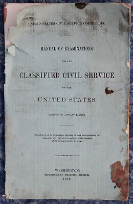 United States Classified Civil Service Manual of Examinations 1899
