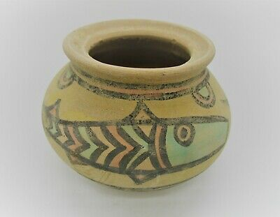 Ancient Indus Valley Harappan Terracotta Vessel With Fish Motifs 2000 Bc
