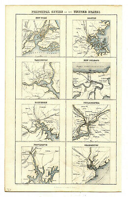 Principal Cities of the United States Maps Engraved by G.H. Swanston ca. 1850