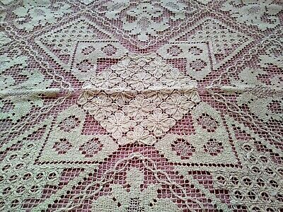 Gorgeous Expert Worked Antique Needle Lace on Net Tablecloth 30 1/2""