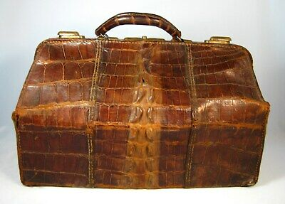 "Antique Alligator/Crocodile Doctors Medical Bag Satchel Brass Large 17.5"" X 10"""