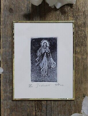 Jesus Divine Mercy Sacred Heart Handmade Small Etching by Abelar Mexico Folk Art