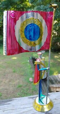 "Punched Tin Soldier Flag Mexican Mexico Folk Art 14"" Tall"
