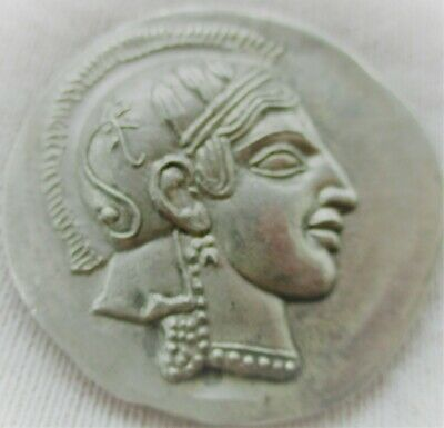 Unresearched Ancient Greek Ar Silver Coin Athena And Owl 26Grams 35Mm