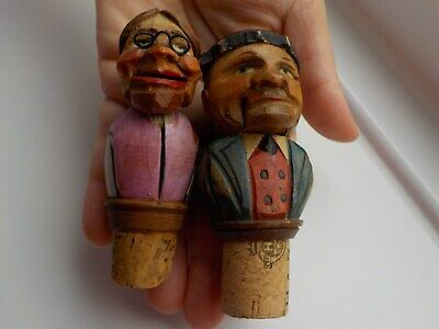 "Two Antique Hand Carved Wooden Articulated Bottle Stoppers ""Loving Couple"""