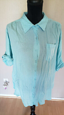 Women's Dressbarn Woman Button Down Blouse Size 22/24W Aqua Color Shoulder Pads