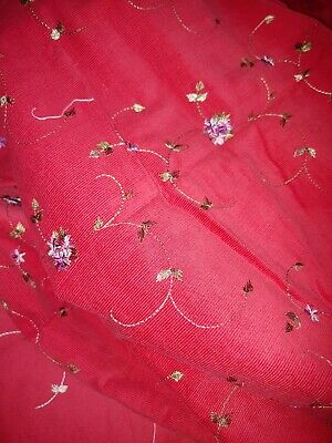 """Vintage Fabric - Embroidered Red Corduroy Pinwale 45"""" wide x 3 yard"""